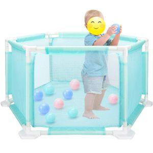 SPICOM Foldable Baby Playpen Safety Hexagon Mesh Children Room 18 Poles/Bars Sided with Ocean Ball
