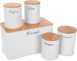 SPICOM Kitchen Canister Storage Jar with Airtight Bamboo Wooden Lids Set 5PC Essential USE Tin of Tea, Coffee, Sugar, Biscuit and Bread (White)