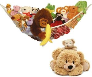 SPICOM Toy Storage Hammock Large Mesh Toy Holder Organiser Hanging Net for Nursery or Playroom Stuffed Animals Teddies Kids Bedroom Wall Gift Idea for Baby Girl/Boy Birthday or Shower