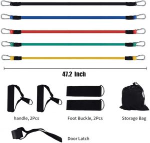 SPICOM 11pc Fitness Stretch Workout Bands Kit Exercise Resistance Bands for GYM Workout Yoga Crossfit Best use Legs Butt & Glutes Pull Up