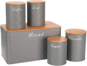 SPICOM Kitchen Canister Storage Jar with Airtight Bamboo Wooden Lids Set 5PC Essential USE Tin of Tea, Coffee, Sugar, Biscuit and Bread (Grey)