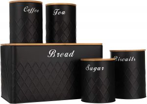 SPICOM Kitchen Canister Storage Jar with Airtight Bamboo Wooden Lids Set 5PC Essential USE Tin of Tea, Coffee, Sugar, Biscuit and Bread (Black)