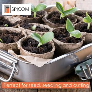 SPICOM 96 Round Fiber Pot Growing Plants Ideal For Seeds Seedlings & Cuttings 6 cm Gardening Seeding Cups Perfect For Planting | Pots | Bulb Planter | Greenhouse | Pots For Plants | Small Flower Pots