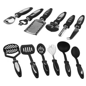 SPICOM 12 Pieces Cooking Utensil Set Stainless Steel Nylon Kitchen Gadget Tool Handle