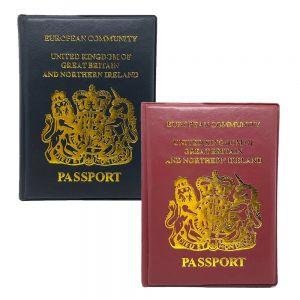 SPICOM 2x UK Passport Holder Protector Cover Wallet PU Leather United Kingdom EU
