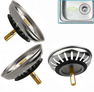 SPICOM 1 Pack Kitchen Sink Strainer, Replacement for Standard Kitchen Sink Drain Strainer (3.25 Inch), Chrome Plated Stainless Steel Basket Body with Rubber Stopper